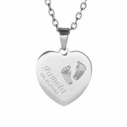 Gravado Halskette aus silberfarbenem Edelstahl mit Herz-Anhänger und Gravur mit Kinder Füßchen, Personalisiert mit Namen und Datum, Mädchen Schmuck - 1