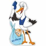 Großer Storch mit Baby › Ich bin da! › Inkl. Stab aus Holz › Geschenk zum Stecken für Innen und Außen › Klapperstorch Geburtsgeschenk › Wetterfest (Junge) - 1