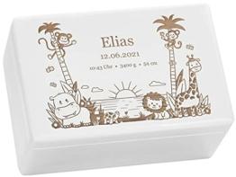 LAUBLUST Erinnerungsbox Baby Personalisiert - Dschungel - Geschenk zur Geburt   M - ca. 30x20x14cm, Holzkiste Weiß FSC® - 1