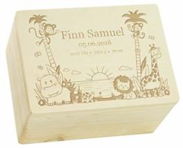 LAUBLUST Erinnerungsbox Baby Personalisiert - Dschungel - Geschenk zur Geburt   XL - 40x30x24cm, Holzkiste Natur FSC® - 1