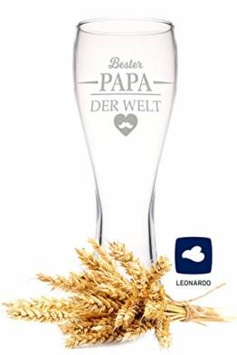 Leonardo Weizenglas mit Gravur - Bester Papa der Welt - Geschenk für Papa ideal als Vatertagsgeschenk 0,5l Bierglas Weizenbierglas als Geburtstagsgeschenk für Männer - 1