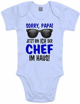 Lustiger Baby Body Strampler witzig Bedruckt mit Sorry Papa! Jetzt Bin ICH der Chef im Haus! - für Jungen und Mädchen als Geschenk zur Geburt/Erstausstattung - 1
