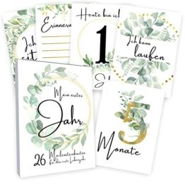 Meilensteinkarten Baby (26 Stück mit Box) Junge & Mädchen - Meilenstein Karten - Milestone Cards Geschenk zur Geburt - Geschenke Schwangerschaft & Babyparty - Fotokarten Babykarten - Eucalyptus - 1