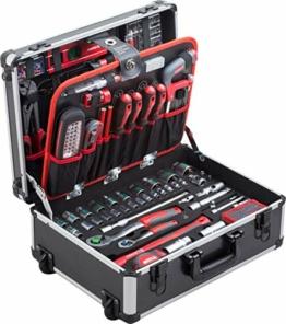 Meister Werkzeugtrolley 156-teilig - Werkzeug-Set - Mit Rollen - Teleskophandgriff / Profi Werkzeugkoffer befüllt / Werkzeugkiste fahrbar auf Rollen / Werkzeugbox komplett mit Werkzeug / 8971440 - 1