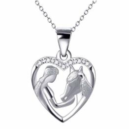 MINGXI Mädchen füttern Pferd Anhänger Herz Halskette S925 Sterling Silber Kurze Schlüsselbeinkette Geburtstag Freundin - 1