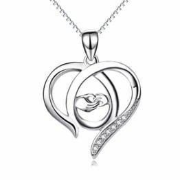 Perfekten Geschenk für Mama, Sterling Silber Mutter und Kind Hände Herz Anhänger Halskette, 45,7 cm (Mama ich liebe dich) (A Silber Mutter Halskette) - 1