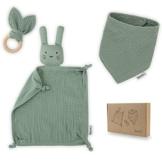 Räuberella Schmusetuch, Beißring und Lätzchen Baby Geschenk zur Geburt Junge & Mädchen Mint - 1